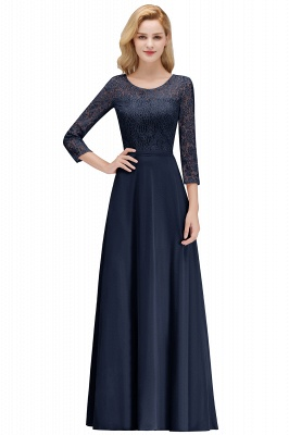 Simple Chiffon A-Line Bridesmaid Dresses | Scoop 3/4 Sleeves Lace Formal Prom Dresses_3