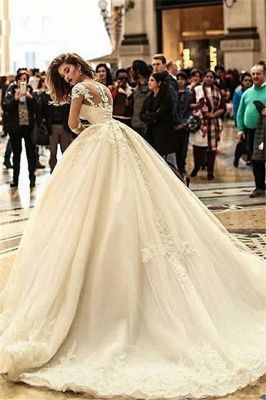 Glamorous Puffy Court Train Lace Appliques Tulle Wedding Dresses with Sleeves_3