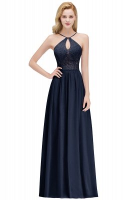 A-line Keyhole Neckline Lace Top Long Spaghetti Bridesmaid Dress In Stock_3