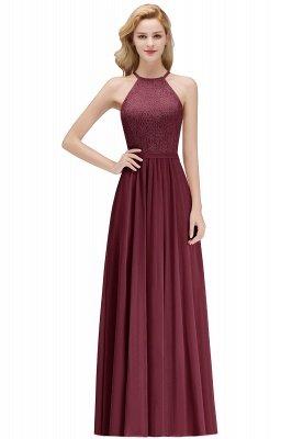 Elegant A-Line Chiffon Bridesmaid Dresses   Halter Lace Wedding Party Dresses_2