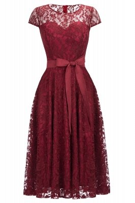 Short Sleeves A-line Burgundy Lace Dresses with Bow