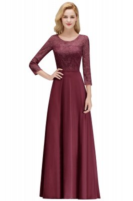 Simple Chiffon A-Line Bridesmaid Dresses | Scoop 3/4 Sleeves Lace Formal Prom Dresses_2