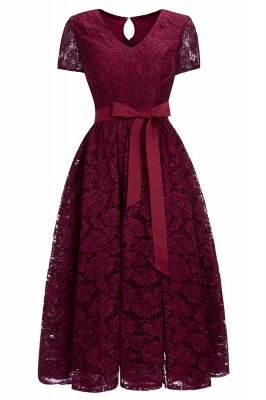Short Sleeves Burgundy Flower V-neck Lace Dresses with Sash