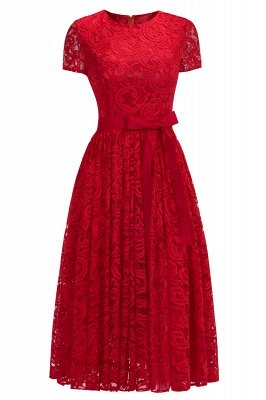 Short Sleeves Sheath Sexy Red Lace Prom Dresses with Ribbon Bow_2