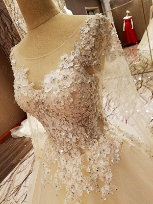 Puffy Long Sleeves Lace-up Lace Appliques Tulle Wedding Dresses_12