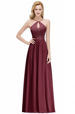 A-line Keyhole Neckline Lace Top Long Spaghetti Bridesmaid Dress In Stock_2