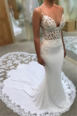 Mermaid Sweetheart Spaghetti Straps Wedding Dresses | Lace Appliques Wedding Gowns with Court Train_1