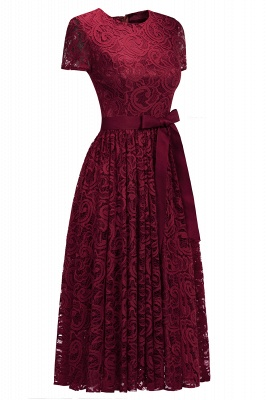 Short Sleeves Sheath Sexy Red Lace Prom Dresses with Ribbon Bow_6