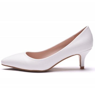 Fashion Pionted Toe PU Kitten Heel Wedding Shoes_4