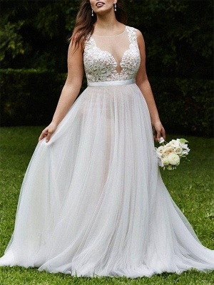 Tulle Scoop Sleeveless Court Train Lace Wedding Dresses_1