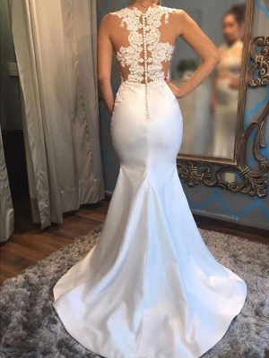 Dazzling Scoop Sleeveless Applique Court Train Satin Sexy Mermaid Wedding Dresses_4