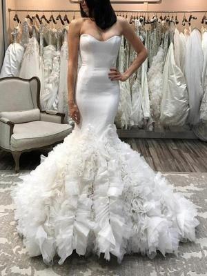Sleeveless Court Train Sweetheart Organza Sexy Mermaid Wedding Dresses_1