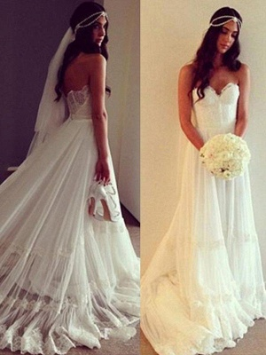 Charming Court Train Sleeveless Sweetheart Tulle Lace Wedding Dresses_4