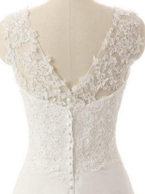 Sweep Train V-neck Sleeveless Chiffon Lace Wedding Dresses_4