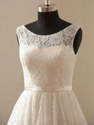 Gorgeous Knee-Length Sleeveless Scoop Ribbon Lace Wedding Dresses_3