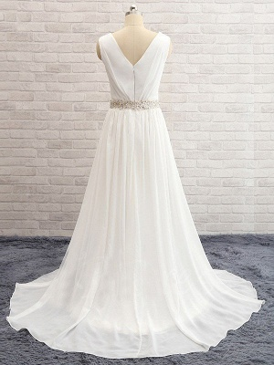Sleeveless V-neck Sweep Train Chiffon Beaded Wedding Dresses_5