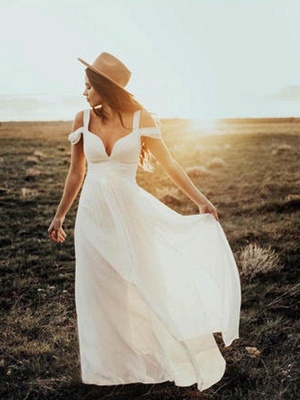 Short Sleeves Ruffles Chiffon Wedding Dresses |Stunning V-neck Straps Floor-Length Bridal Gowns_1