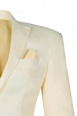 Back Vent Champagne Peak Lapel Two Button Fashion Wedding Suit_4