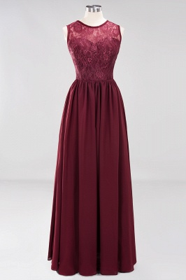 A-Line Chiffon Lace Bridesmaid Dresses | Scoop Sleeveless Wedding Party Dresses_7