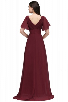 Simple A-Line  V-Neck Short-Sleeves Ruffles Floor-Length Bridesmaid Dresses_2