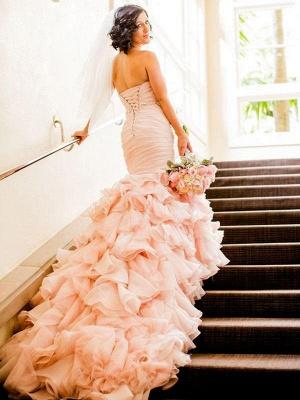 Court Train Organza Sexy Mermaid Wedding Dresses   Sweetheart Sleeveless Ruffles Bridal Gowns_3