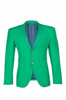 Turquoise Customize Single Breasted Peak Lapel Groomsmen Popular Wedding Suit_1