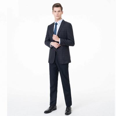 Slim Fit Peak Lapel Two-piece Suit Lattice Casual Suits_3