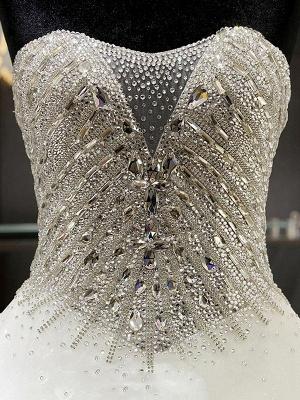 Sweetheart Sleeveless Cathedral Train Tulle Puffy Rhinestone Wedding Dresses_5