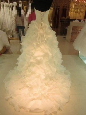 Ruffles Organza Puffy Sweetheart Wedding Dresses | Sleeveless Court Train Bridal Gowns_3