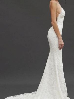 Court Train  Sleeveless V-neck Column Spaghetti Straps Lace Wedding Dresses_4