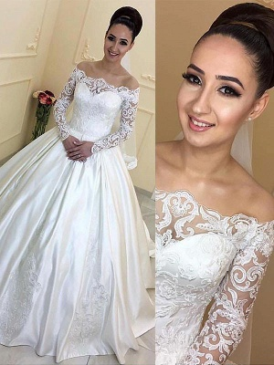Breathtaking Off-the-Shoulder Court Train Puffy Satin Long Sleeves Wedding Dresses_1