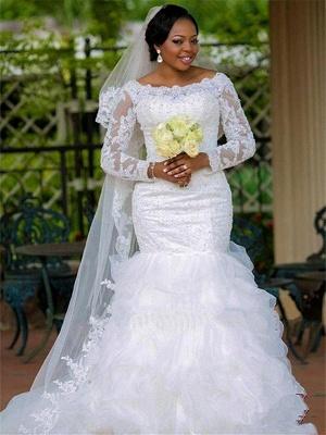 Chapel Train Organza Long Sleeves Square Sexy Mermaid Applique Wedding Dresses_1