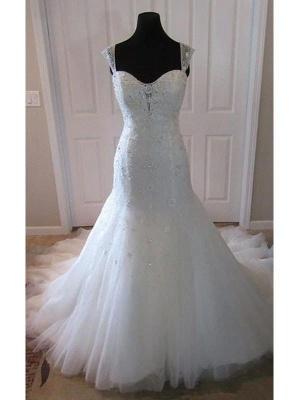 Straps Court Train Sleeveless Tulle Sexy Mermaid Wedding Dresses_3