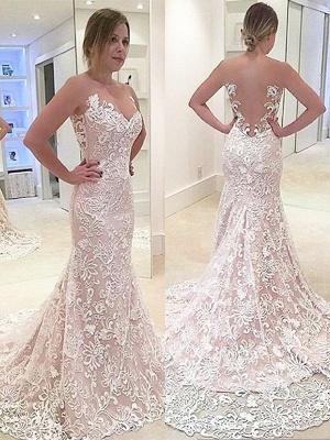 Dazzling Sweep Train Sweetheart Sexy Mermaid  Lace Wedding Dresses_1