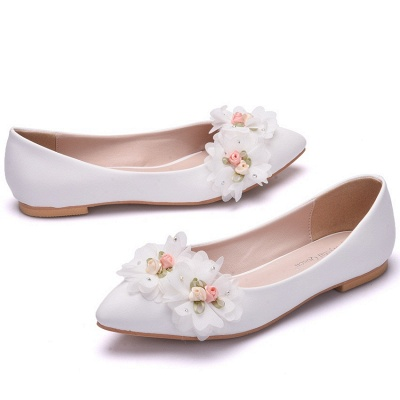 Fashion Pionted Toe PU Flat Wedding Shoes with Flowers_1