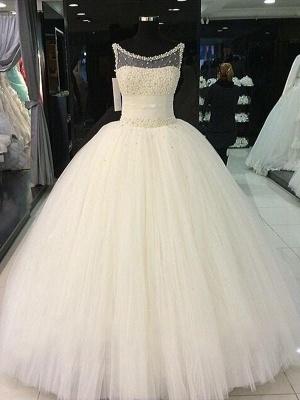 Beaded Scoop Sleeveless Floor-Length Tulle Puffy Wedding Dresses_1