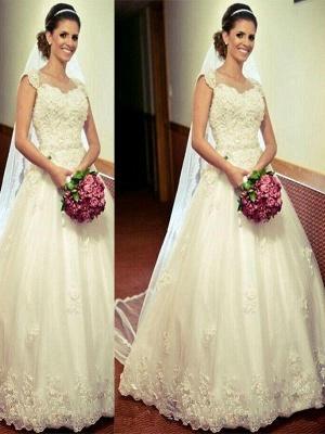 Sleek Sweetheart Floor-Length Sleeveless Tulle Puffy Wedding Dresses_1