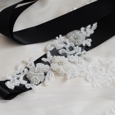Beautiful Satin Flower Wedding Sash with Pearls_6