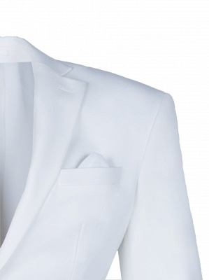 High Quality White Back Vent Two Button Casual Suit Groomsmen Peak Lapel_4