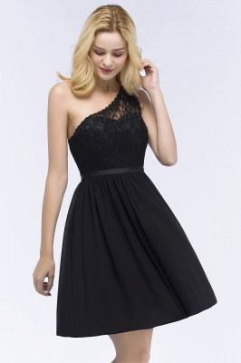 A-Line  Lace One-shoulder Short-Sleeves Knee-Length Bridesmaid Dresses with Sash_3