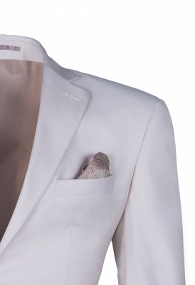 Customize Casual Suit Groomsmen Ivory Peak Lapel Single Breasted High Quality_4