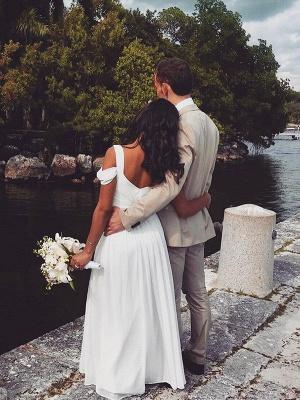 Short Sleeves Ruffles Chiffon Wedding Dresses |Stunning V-neck Straps Floor-Length Bridal Gowns_3