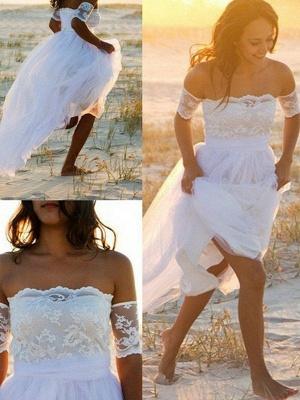 Sleeveless Floor-Length Off-the-Shoulder Lace Chiffon Wedding Dresses_3
