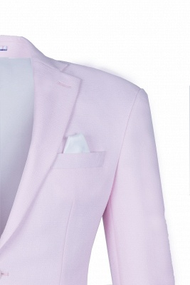 Candy Pink High Quality Single Breasted Peak Lapel Wedding Suit_4