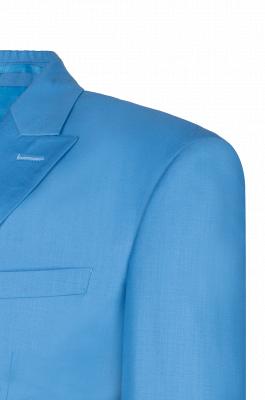 Ocean Blue Casual Suit Customize Groomsmen Peak Lapel Double Breasted_5