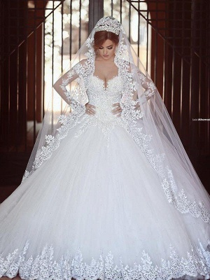 Long Sleeves Court Train Puffy Off-the-Shoulder Glamorous Wedding Dresses_5