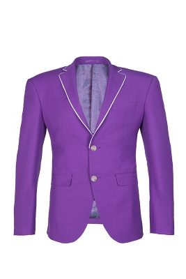 Lilac Latest Design Peak Lapel Single Breasted Two Button Wedding Suit_1