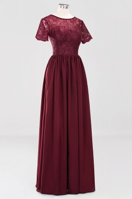 A-line  Lace Jewel Short-Sleeves Floor-length Bridesmaid Dress_42