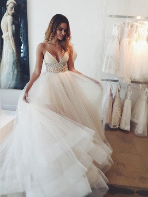 Puffy Crystal Tulle Wedding Dresses | Spaghetti Straps Sleeveless Court Train Bridal Gowns_1