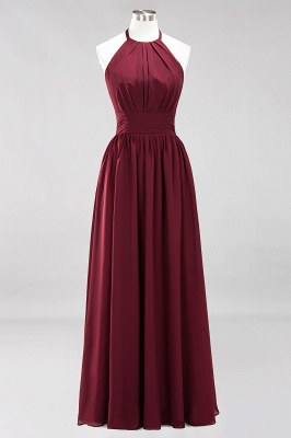 Simple A-Line Chiffon Bridesmaid Dresses | Halter Ruched Hollow Back Maid of The Honor Dresses_7